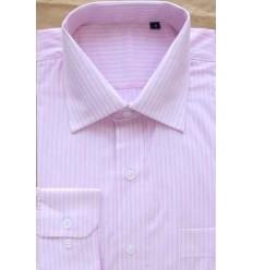 Camisa rosa, listras brancas, manga longa, 100% algodão, fio egipcio, cod 854