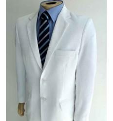 Terno branco,  modelo de 2 botões, em tecido chiffon, (com relevo) cód 1425