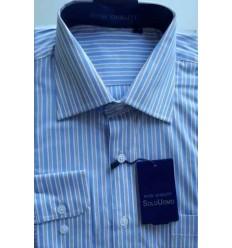Camisa azul, manga longa, 100% algodão, padrão exportação, cód. 861