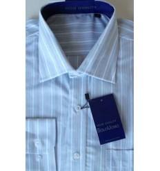 Camisa azul, manga longa, 100% algodão, padrão exportação, cód. 864