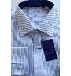 Camisa branca, listras azuis, manga longa, 100% algodão, cód. 860