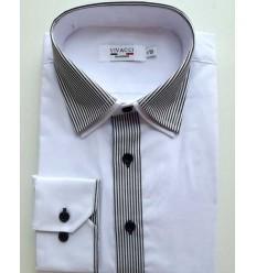 Camisa passa fácil, gola dupla, manga longa,  branca, cód 1423