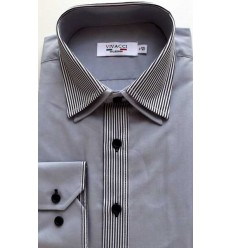 Camisa Grafite, passa fácil, gola dupla, manga longa, cód 1423G