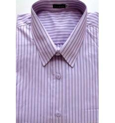 Camisa Extra Grande, manga curta, 100% algodão, fio 100, rosa com listras azuis e vinho, cód 979