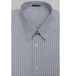 Camisa extra grande, bege com listras, manga curta, passa fácil, em tecido misto de algodão com poliéster, cód 1463BBBM
