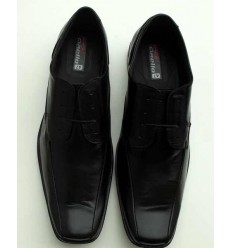 Sapato de couro social, preto com cadarço, solado de borracha antiderrapante, cód  1497CC