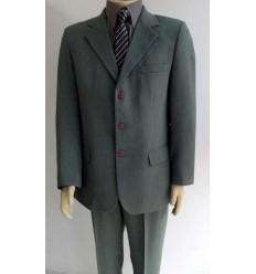 Terno cinza, em tecido linhão, de 3 botões, corte e modelo italiano, (com duas aberturas atrás), cod 551