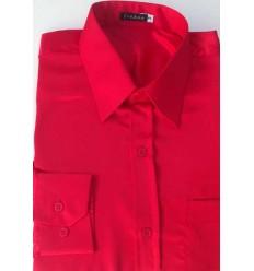 Camisa de cetim de poliéster, cor vermelha com brilho, manga longa, cód 1498VB