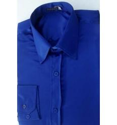 Camisa de cetim de poliéster, cor azul com brilho, manga longa, cód 1498AB