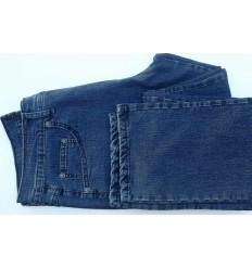 Calça pierre cardin, jeans na cor azul escuro, em de algodão com elastano, cod 1519