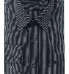 Camisa preta com listinhas brancas, manga longa, fio 60, (100% algodão, cód 1512