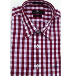 Camisa fio 80, 100% de algodão, manga curta, cor xadrez vinho, cód 1513