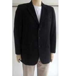 Blazer masculino preto de 3 botões com corte italiano em tecido poliviscose, cód 950