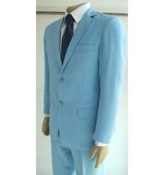 Terno azul claro, corte tradicional de dois botões em tecido de microfibra oxford, cód 1364