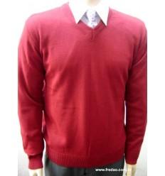 Blusa de lã, decote V, cor vinho, modelo tradicional. Cod. 1168