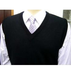 Colete de lã 100% acrílica e anti-alérgica, cor preto, cód 1169