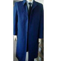 Sobretudo azul em tecido panamá, corte tradicional com forro martelasse.  Cod 1239