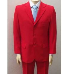 Terno vermelho, corte tradicional com 3 botões em tecido de microfibra oxford, cód 1364