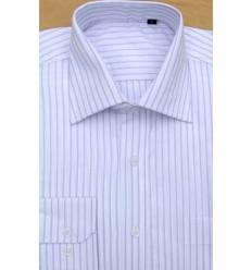 Camisa branca, listras vinho, manga longa, 100% algodão, fio 100, cod 857