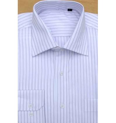 Camisa branca com listras vinho, manga longa, 100% algodão, fio 100, cod 857