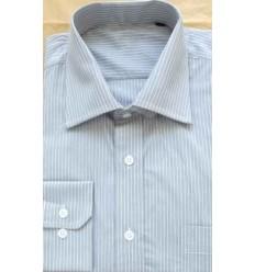 Camisa cinza com listras brancas, manga longa, 100% algodão, fio egípcio, cód 853