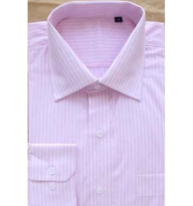 Camisa rosa com listras brancas, manga longa, 100% algodão, fio egípcio, cód 854