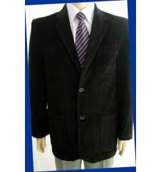 Blazer preto de puro algodão em tecido com desenho de veludo e forro de poliéster, cód 964