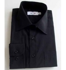 Camisa preta, manga longa em tecido passa fácil, Cód. 996