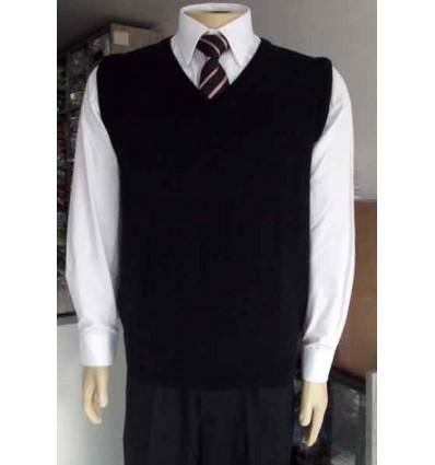 Colete preto em tecido lã, linha esporte fino, tamanho extra-grande, cód 1532