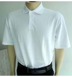 Camiseta branca gola polo em malha inglesa passa fácil de ótima qualidade, cód. 578