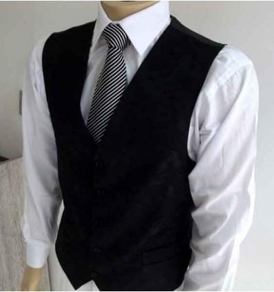 Colete de terno preto em tecido brocado de seda, modelo tradicional, cód. 1422