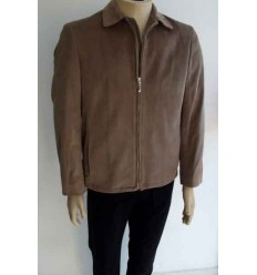 Jaqueta bege escuro em tecido de veludo de algodão. Coleção e design esporte fino, cod 61