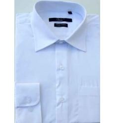 Camisa branca, manga longa em tecido passa fácil, padrão exportação, Cód. 996