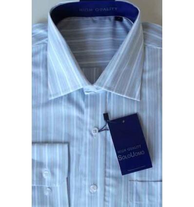 Camisa azul, manga longa, 100% algodão, tipo exportação, cód. 864