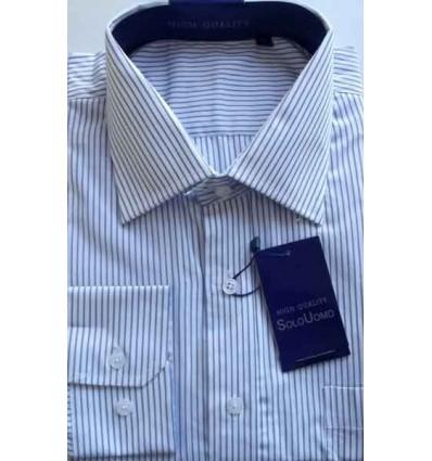 Camisa manga longa branca com listras azuis, 100% algodão de ótima qualidade, cód. 860 Entrega imediata com todas garantias