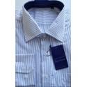 Camisa manga longa branca com listras azuis, 100% algodão de ótima qualidade, cód. 860