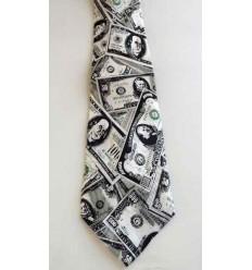 Gravata longa, com estampa de dollar, cód 961DL
