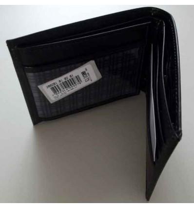 Carteira em couro para documentos e dinheiro, cor preta, cód. 1452