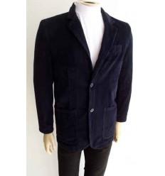 Fredao Moda Masculina Blazer azul de puro algodão em tecido com desenho de veludo e forro de poliéster, cód 964 Entrega imedi