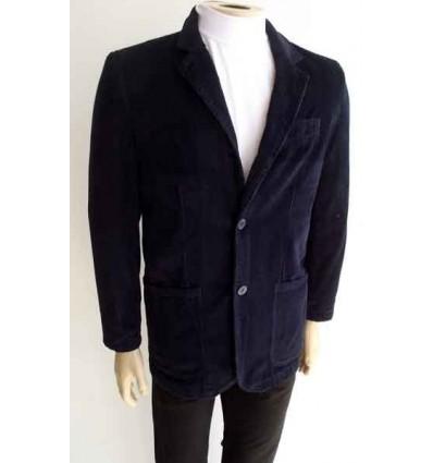 Blazer azul de puro algodão em tecido com desenho de veludo e forro de poliéster, cód 964