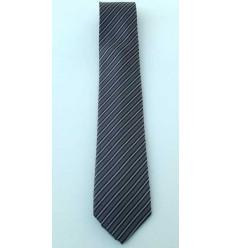 Gravata preta listrada modelo tradicional longo em jacquard, de poliéster, cód 1474-PL