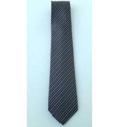 Gravata preta listrada modelo tradicional longo em jacquard, de poliéster, cód 1474-PL  Entrega imediata com todas garantias