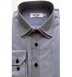 Camisa passa fácil, cor grafite com gola dupla e manga longa, cód 1423G