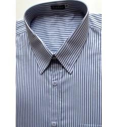 Camisa extra grande, manga curta, cor prata com listras de algodão, Ref. 979