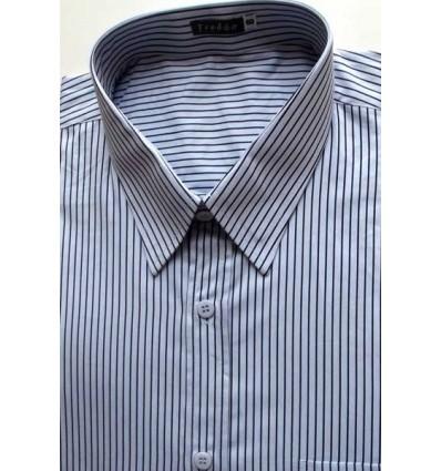 Fredao Moda Masculina Camisa extra grande, manga curta, cor prata com listras de algodão, Ref. 979 Entrega imediata com todas g
