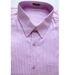 Camisa da coleção extra grande, manga curta, cor rosa com listras em tecido 100% algodão, fio 100, cód 979