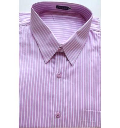 Camisa da coleção extra grande, manga curta, cor rosa com listras brancas, em tecido 100% algodão, fio 100, cód 979