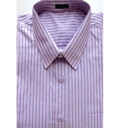Camisa da coleção extra grande, manga curta, cor rosa com listras azuis e vinho, em tecido 100% algodão, fio 100, cód 979