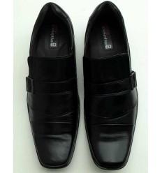 Sapato Extra Grande de couro social, preto sem cadarço, solado de borracha antiderrapante, cód  1497, Ref 4001