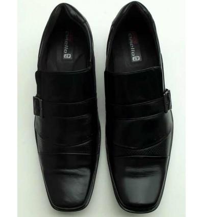 Sapato Extra Grande de couro social, preto sem cadarço, solado de borracha antiderrapante, cód  1497, Ref 4001 Entrega imedia